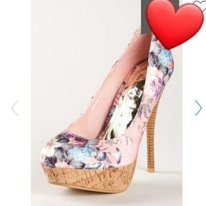 Henry Ferrera pink floral cork platform heels